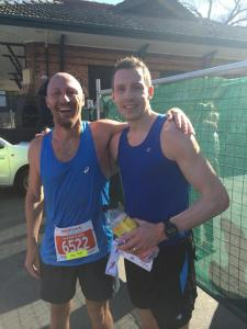 With Gary at the finish. Goals hit. Happy chappies!